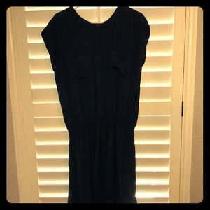 Vince navy silk drawstring dress
